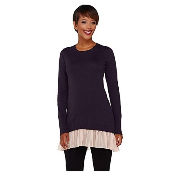 Logo By Lori Goldstein Sweaters - LOGO by Lori Goldstein Chiffon Trim  Sweater 84e4fd91b